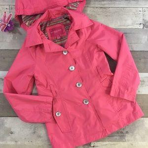 London Fog Rain Coat Pink Hooded Girls Size 7/8